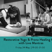 Restorative yoga and prana healing class with live mantras